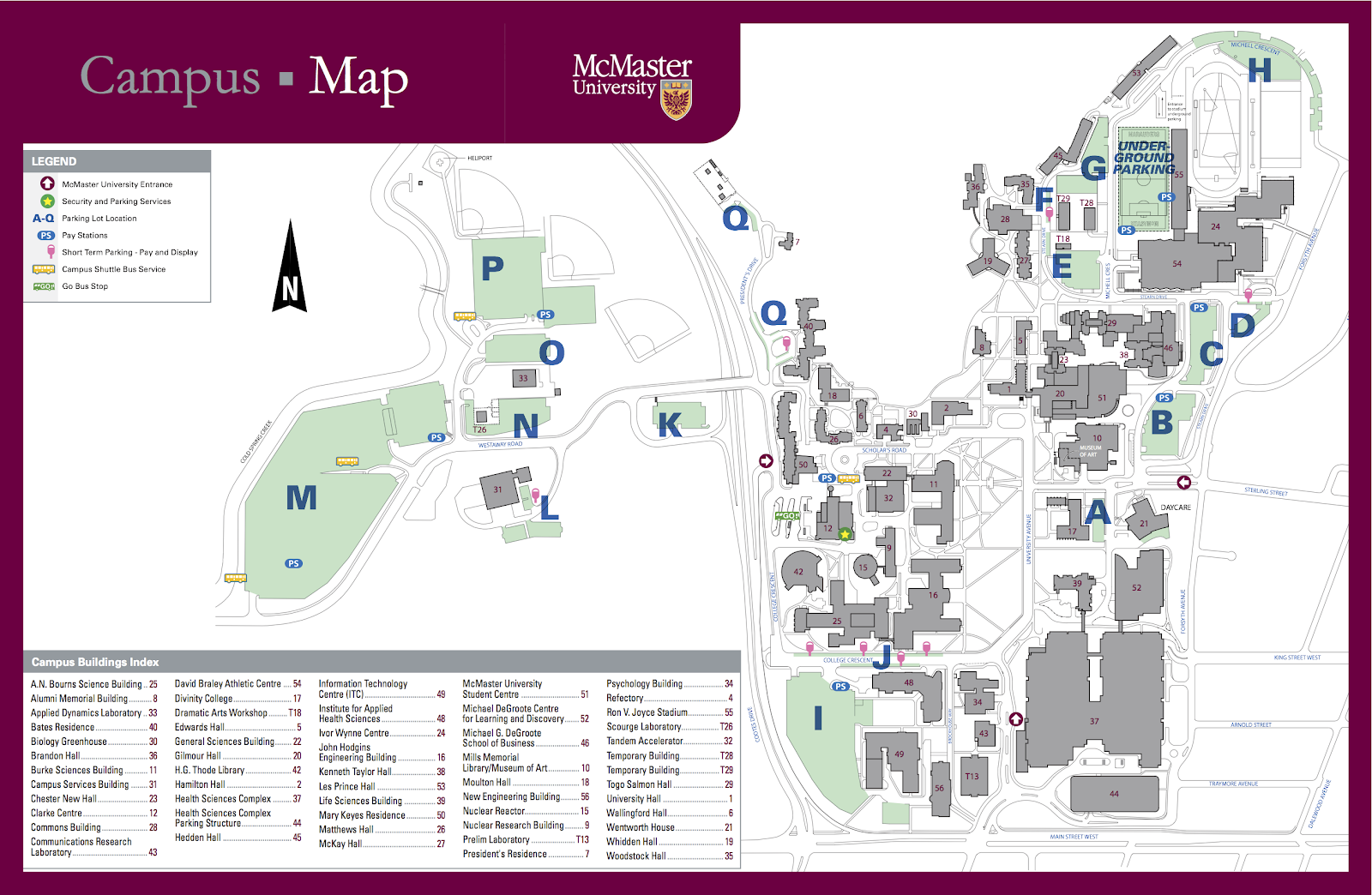 Mcmaster Parking Map mapping the former marsh