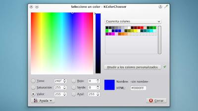 KColorChooser, el selector de color de KDE