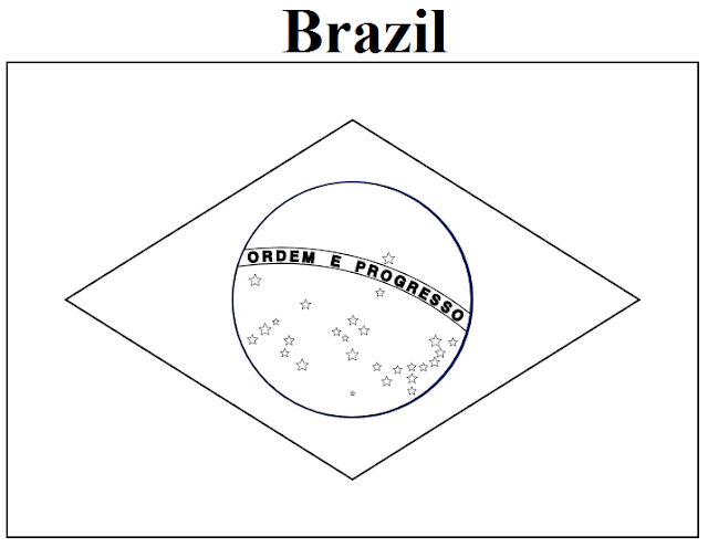 Geography Blog Brazil Flag Coloring Page