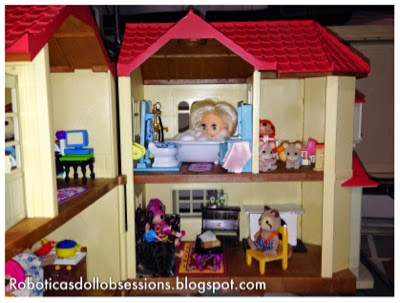 This is the very crowded and small bathroom  the playroom and the living  room  There aren t any lights in these rooms  Some day I ll get around to  putting. Robotica s Doll Obsessions  Calico Critters Townhouse