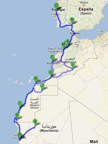 Marrocos e Mauritãnia a Queimar Pneu e Gasolina - Página 5 Roteiro