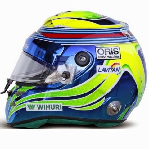 Il casco inconfondibile di Felipe Massa: diverso nello stile (ora più sinuoso) ma sempre colorato alla brasiliana