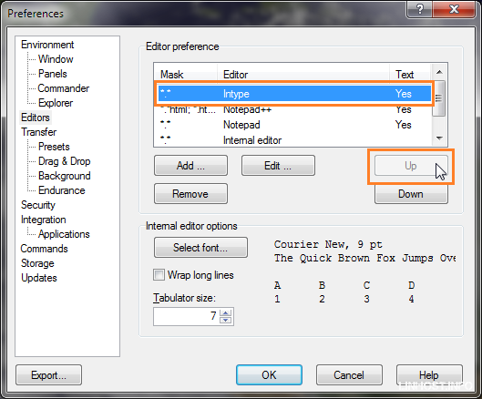how to change default text editor windows 7