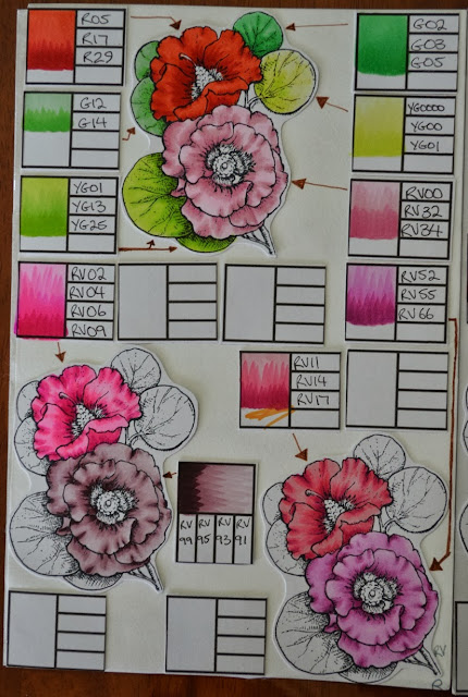 Elizabeth Whisson, Copic Journal, Copic, Flourishes, Bloomin Aussie Florals, colour combinations