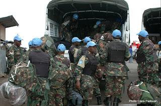 Des militaires tanzaniens de la Brigade d'intervention de la Monusco lors de leur arrivée à Goma (Photo Clara Padovan)