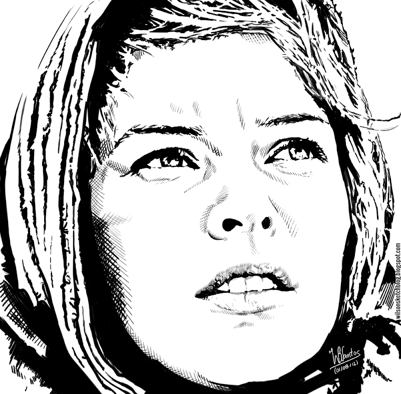 Ink drawing of Alice (Resident Evil Extinction), using Krita 2.4.