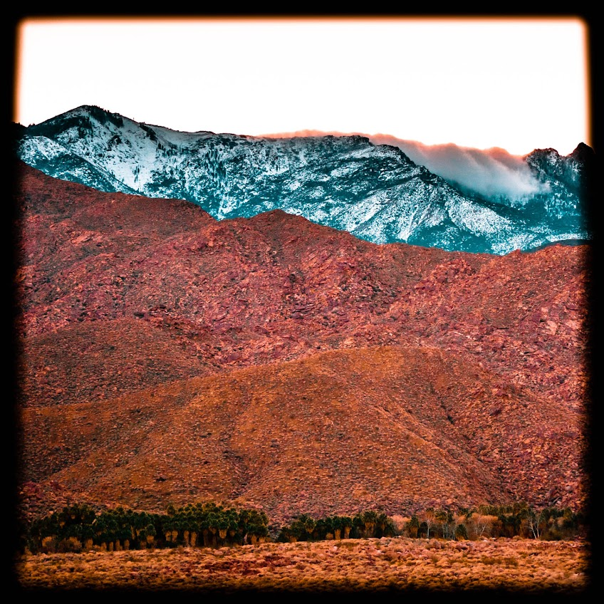 Landscape Photography, snow, Indian Canyons Palm Springs, Mountains, clouds, sunset