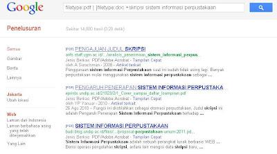 Mencari skripsi di mesin pencari