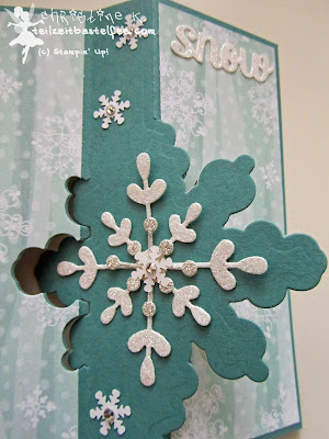 stampin up, thinlits snowflake card, schneekristall-karte, dp stille nacht, dsp all is calm, frosted sequins