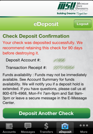 mobile eDeposit confirmation