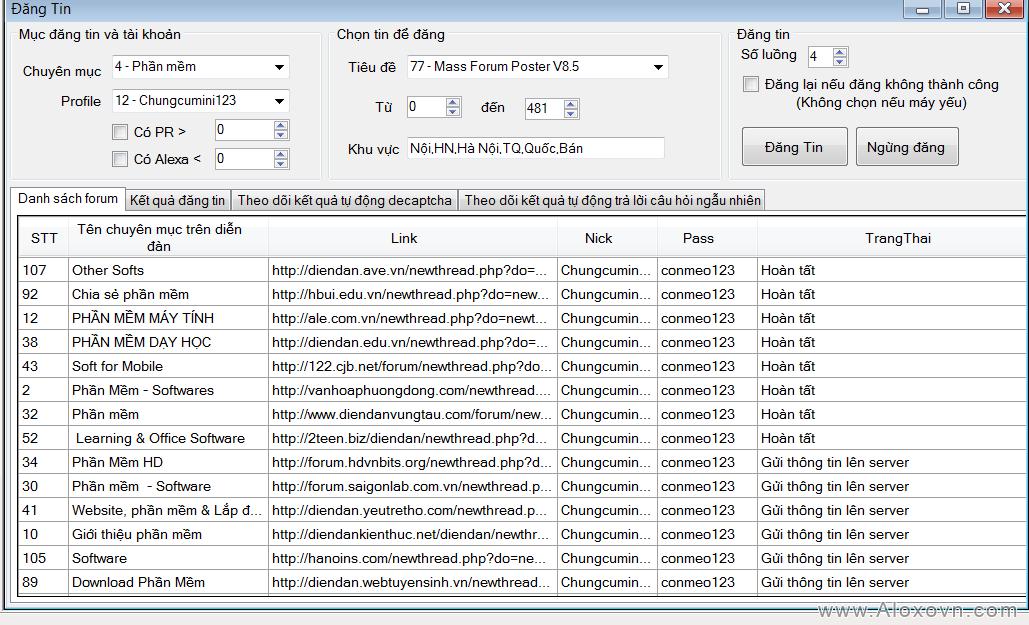 Đăng tin - Phần mềm đăng tin, Phần mềm đăng tin quảng cáo, rao vặt tự động Aloxo Auto Poster