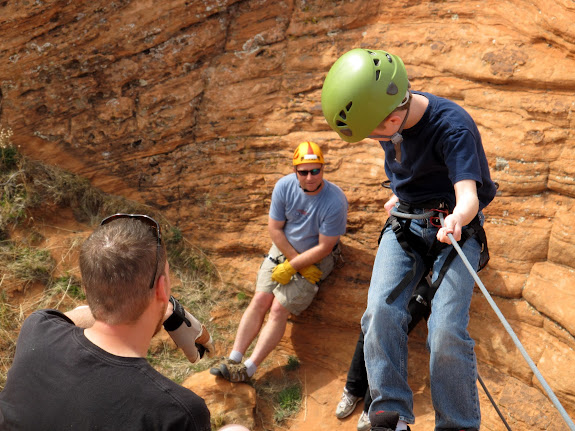 Bradley doing a more difficult rappel