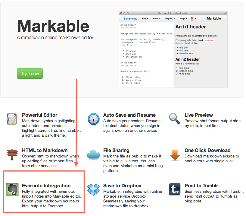 Markable Evernote Support