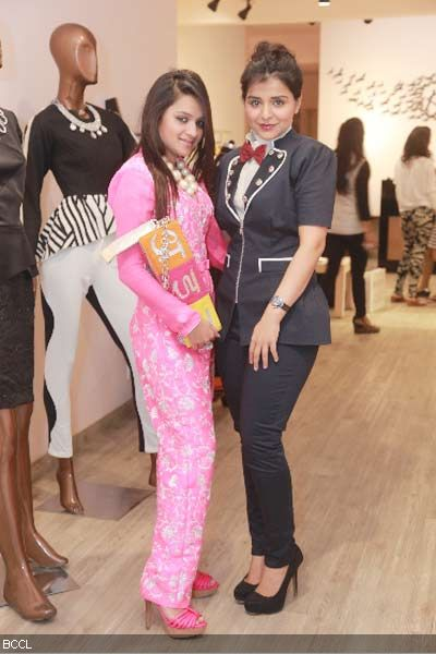 Fashion designer Kanika Jain and jewellery designer Musskan Agarwal during the former's new collection launch at 114 Shahpur Jat, Delhi.