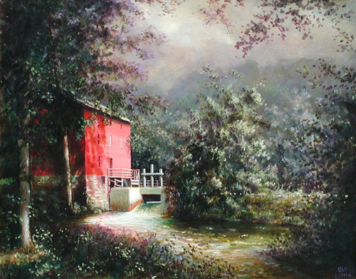 """Alley Spring Mill"" Oil by artist Bill Little."