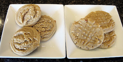 Two plates with different sizes of Peanut Butter Cookies