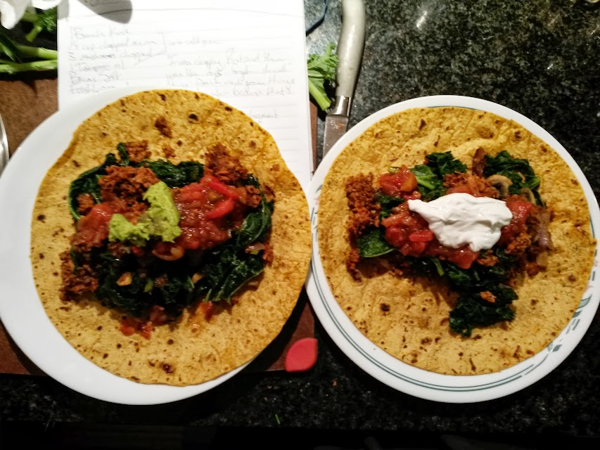 Kale and Soyrizo Burritos before being wrapped up