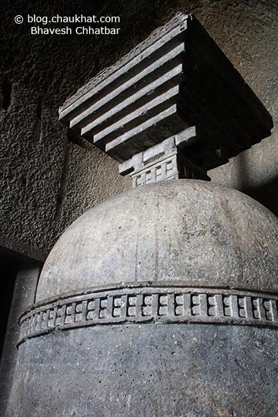 The Stup [AKA Stupa] inside the Chaitya [main hall] of Bedse Caves
