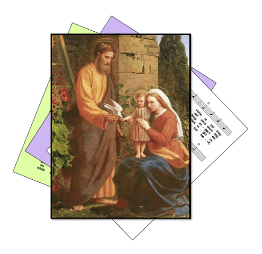 St Joseph with Mary and the boy Jesus - picture on hymn sheet music icon
