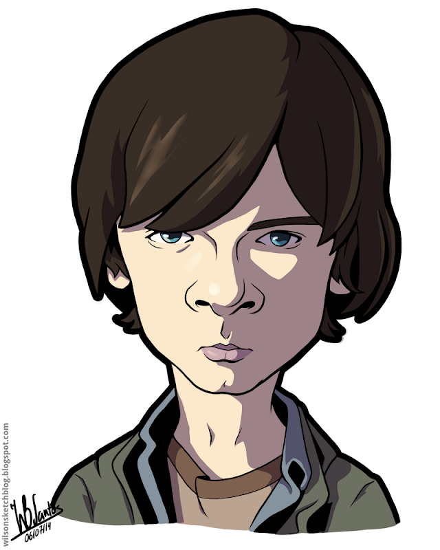 Cartoon caricature of Chandler Riggs as Carl Grimes from The Walking Dead.