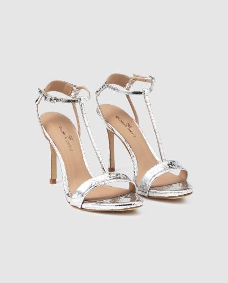 Sandalias de tacón de mujer Gloria Ortiz en ante de color plata