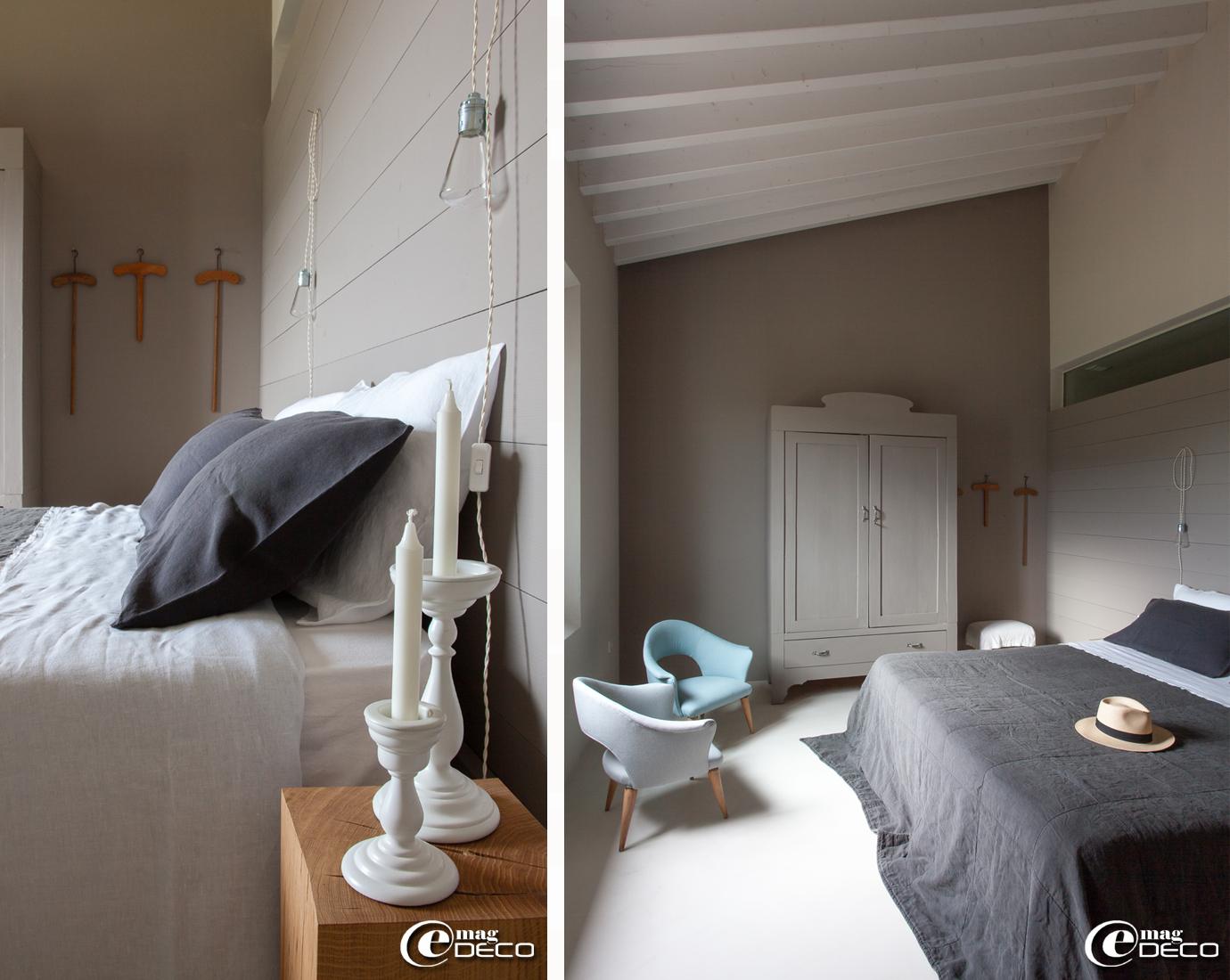 Cube en chêne 'Merlin' servant de tables de nuit chez 'AM.PM.', lampes 'Phy' design Philippe Daney pour 'SCE Edition' en vente chez 'AM.PM.'