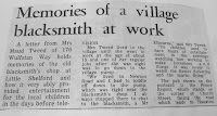 Newspaper cutting about village blacksmith, Hauxton Road, Little Shelford