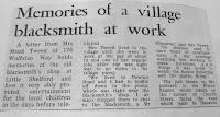 Newspaper cutting about village blacksmith, Hauxton Road, Little Shelford