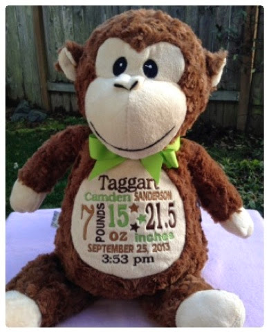 Momma mia moments new baby on the way my list of favorite or first home information on pillows but this is even more special as a baby gift because the info is on this stuffed monkey and hes so cute negle Gallery