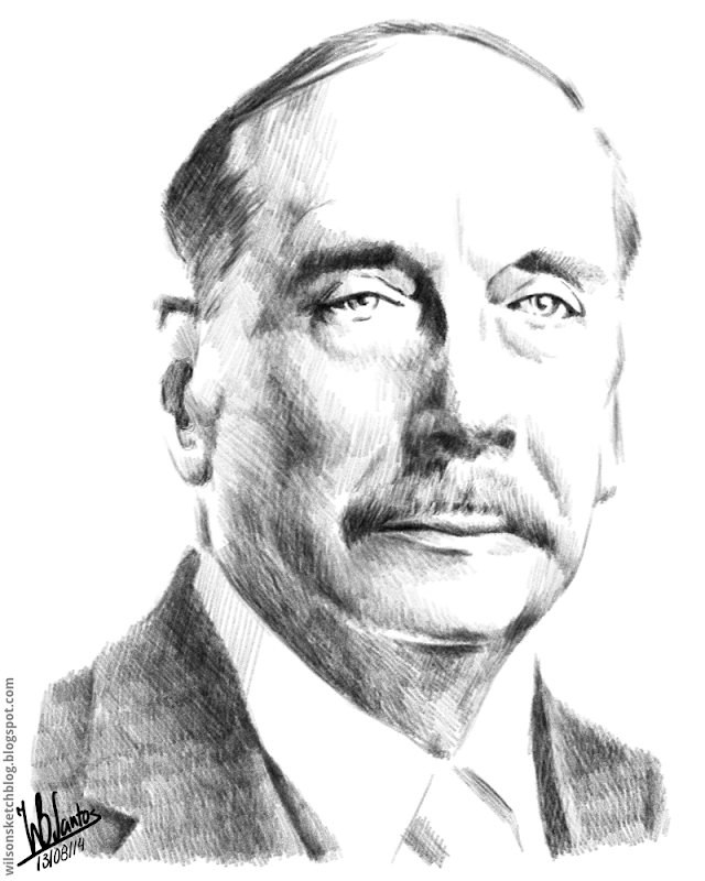 Pencil drawing of H. G. Wells.