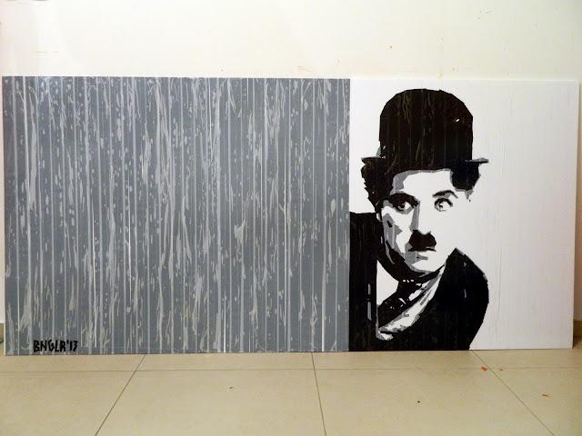 bronya & sonya benigeler  tape art portrait of  Charles Chaplin Чарли Чаплин