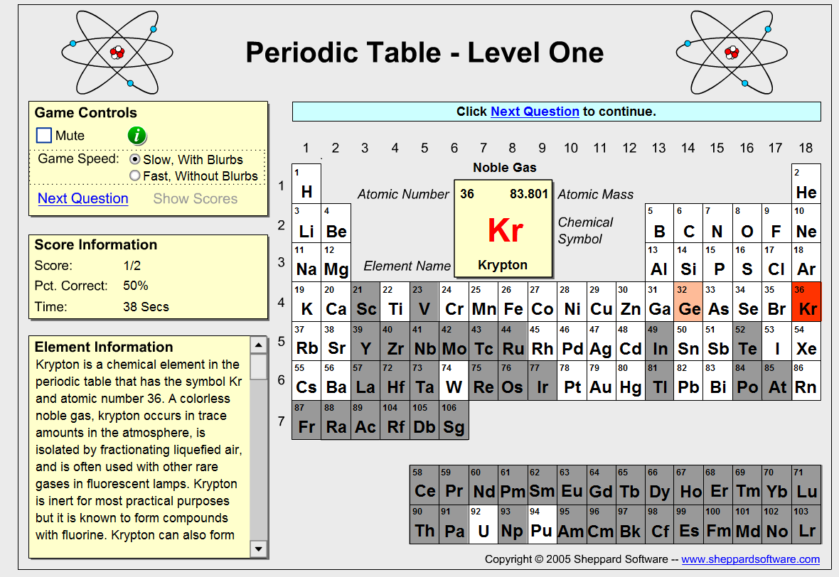 Free technology for teachers 5 periodic table games there is debate as to whether or not students should have to memorize the periodic table whether you think thats right or wrong to have students do that urtaz Gallery