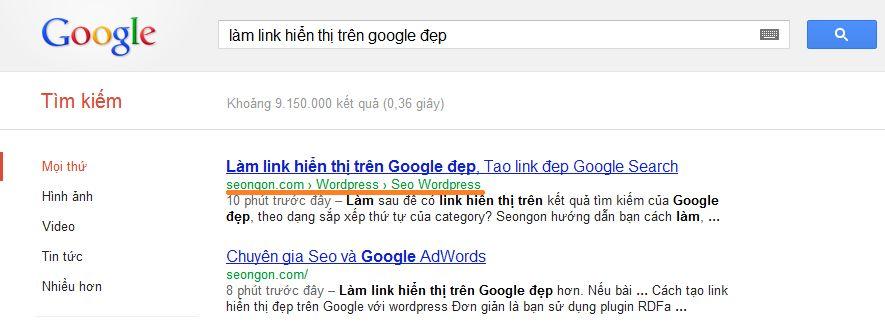Tao link hien thi dep tren Google