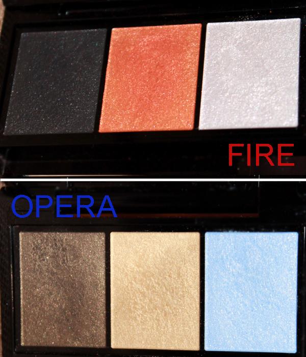 shiseido luminizing satin eye color trio Opera GD 804, Fire OR 302