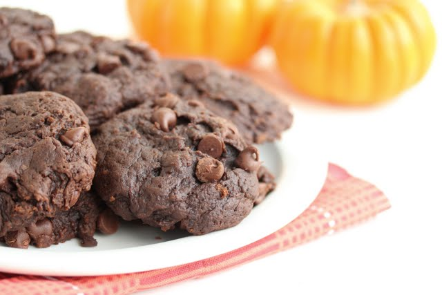 close-up photo of Double Chocolate Chip Pumpkin Cookies on a plate