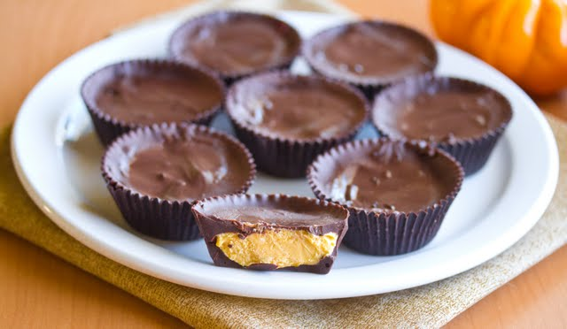 photo of a plate of Pumpkin Cheesecake Chocolate Cups