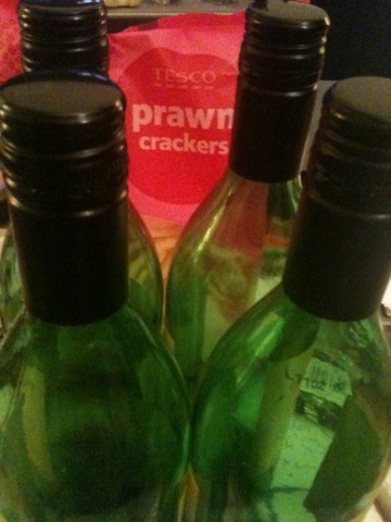 wine and prawn crackers
