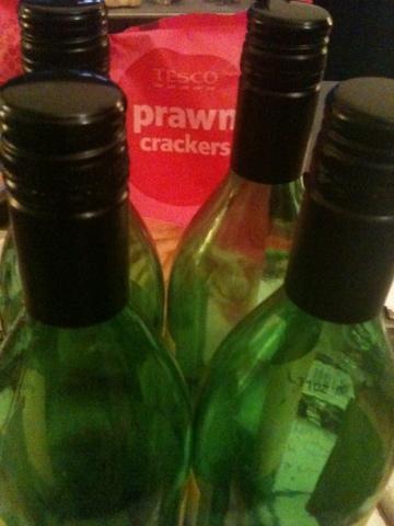 wine and prawn crackers