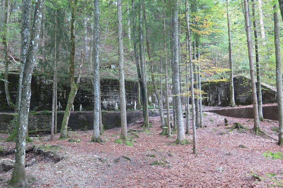 Die hintere Stützmauer des Berghofs