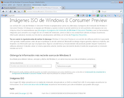 Descarga del fichero ISO, preparación del CD de arranque de Windows 8 Consumer Preview