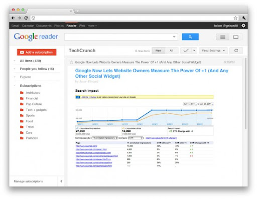 Google reader new interface?