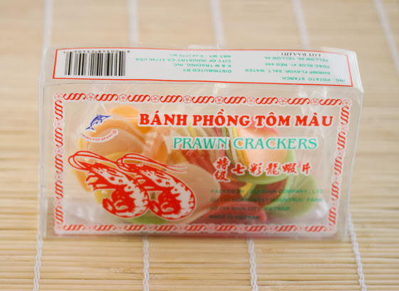 a package of prawn crackers used to make shrimp chips