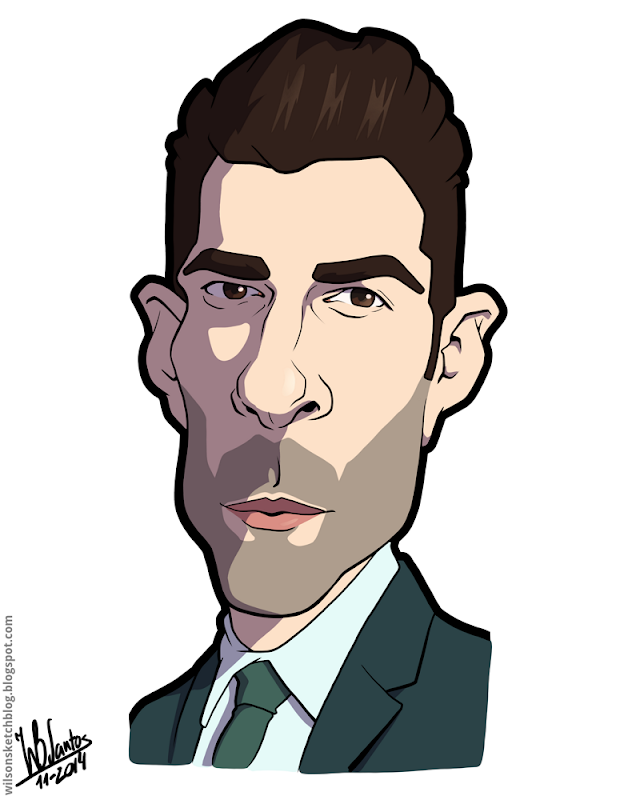 Cartoon caricature of Zackary Quinto.