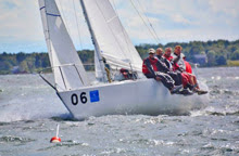 J/24 one-design sailboat- sailing upwind in Maine