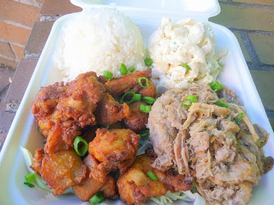 808 Grinds Food Cart, food cart, Combo plate with Kalua Pig and Fried Chicken, hawaiian food