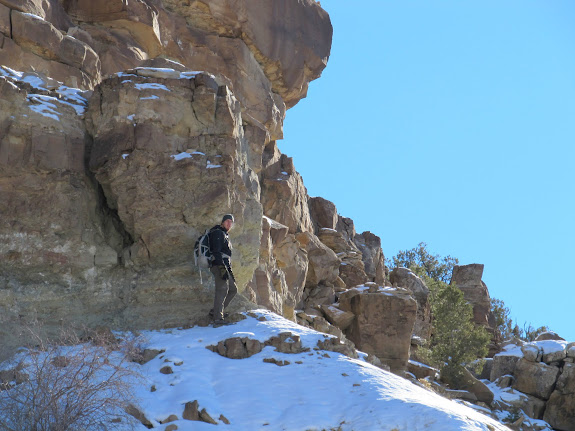 Chris below the final cliff band