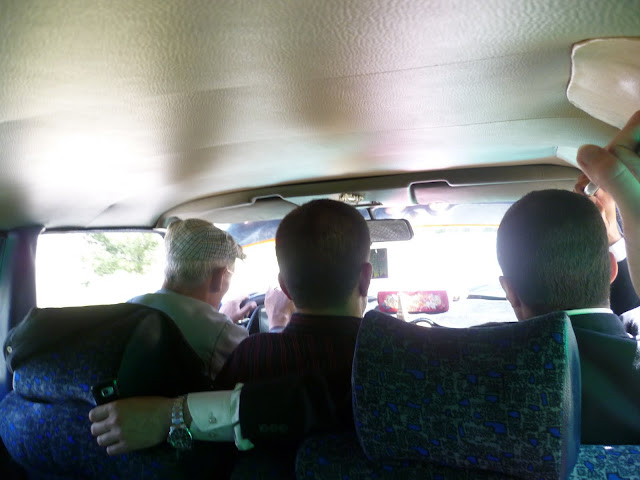 Inside a grand taxi on the way to Tafraoute
