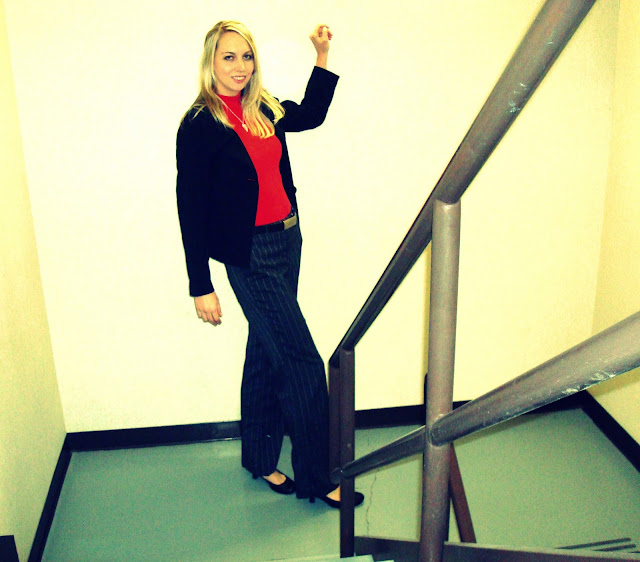red and black in the stairwell