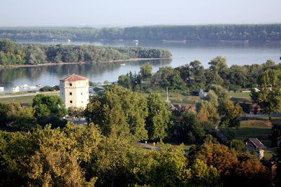 View of Belgrade's rivers from the castle in Serbia