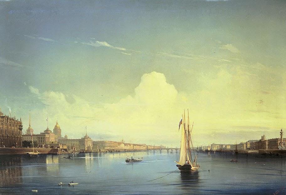 Alexey Bogolybov - Petersburg at Sunset 1850